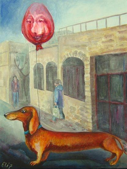 Balloon Painting - Walk With The Owner by Elisheva Nesis