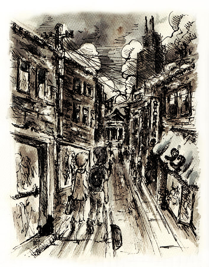 City Painting - Walkin In The City by William Russell Nowicki