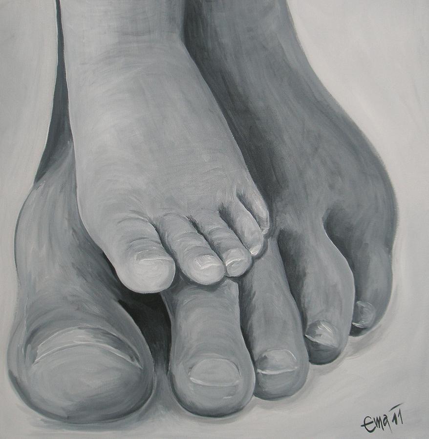 Foot Painting - Walking Around by Ema Dolinar Lovsin