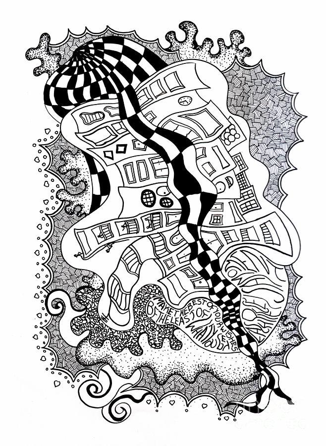 Indian Ink Drawing - Walking By by Fla Arakaki