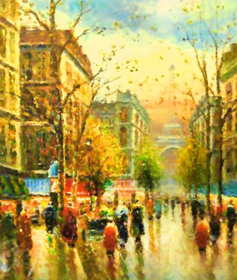 Walking In The Rain Painting By Georgiana Romanovna