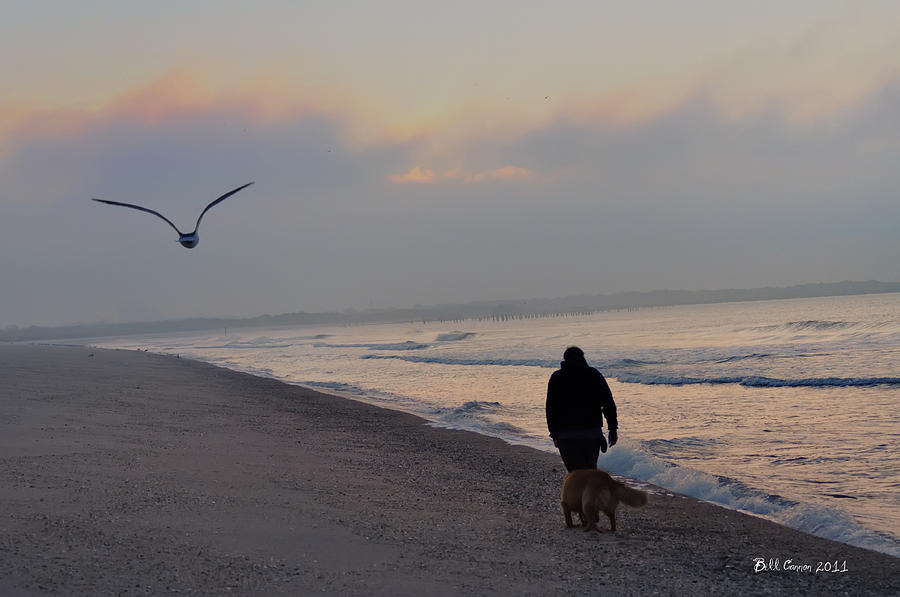 Walking Photograph - Walking On The Beach - Cape May by Bill Cannon
