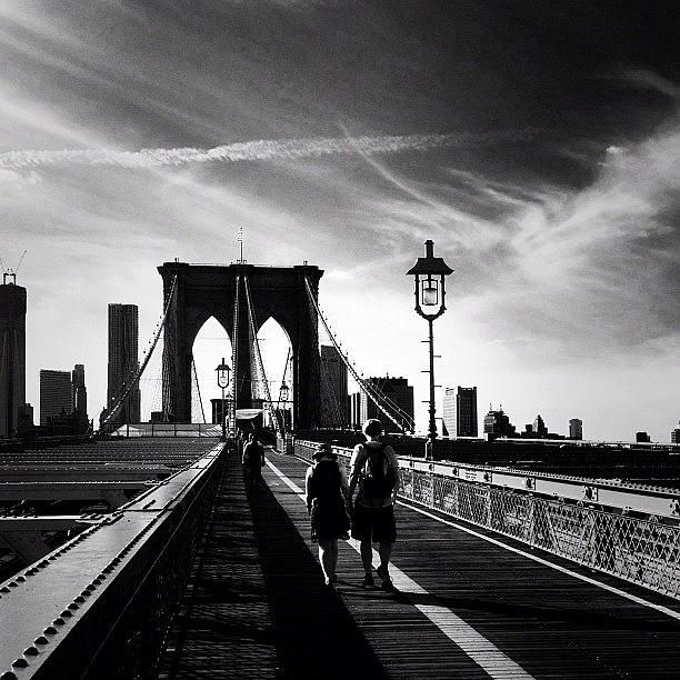 Brooklyn Bridge Photograph - Walking Over the Brooklyn Bridge - New York City by Vivienne Gucwa