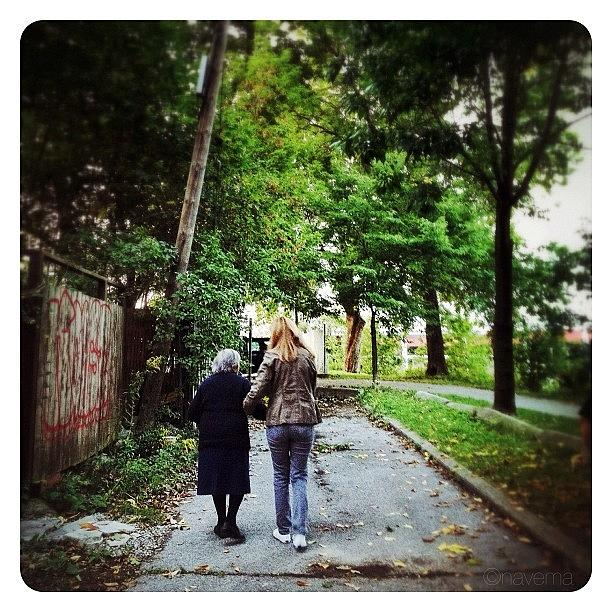 Elderly Photograph - Walking The Nona by Natasha Marco