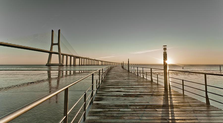 Horizontal Photograph - Walkway And Bridge by Landscape photography