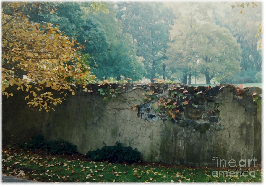 Wall Digital Art - Wall In Fall by Maxine Bochnia