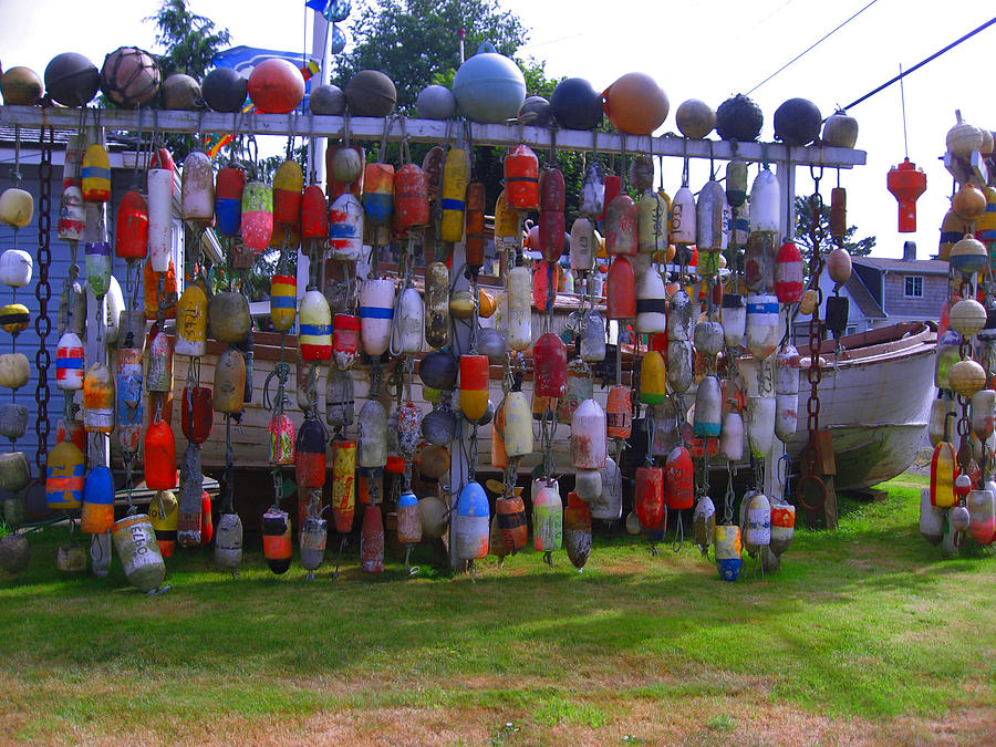 Crab Pot Floats Photograph - Wall Of Floats by Kym Backland