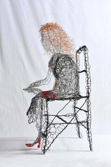 Wire Sculpture - Wallflower In Tight Red Shoes by Charlene White