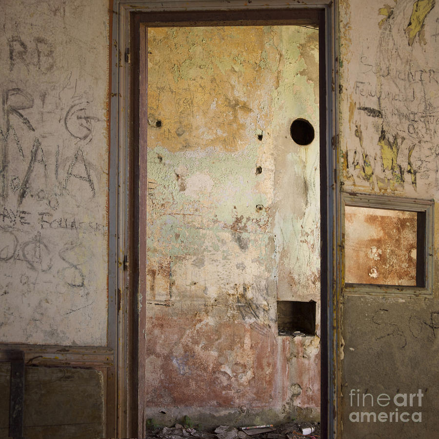 Indoors Photograph - Walls With Graffiti In An Abandoned House. by Bernard Jaubert