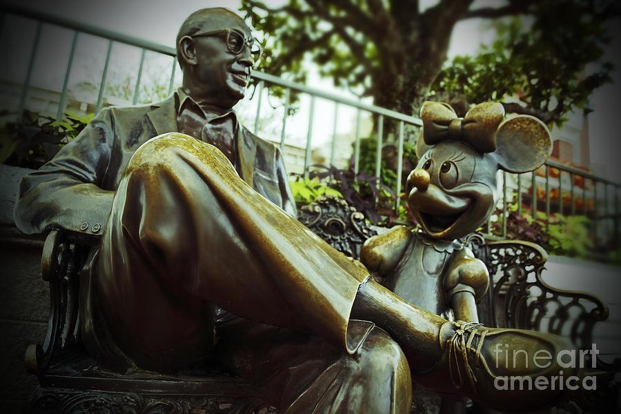 Walt Disney World Magic Kingdom Roy Disney Minnie Mouse Bronze Statue Sculpture Mickey Mouse Photograph - Walt Disney World - Magic Kingdom by AK Photography