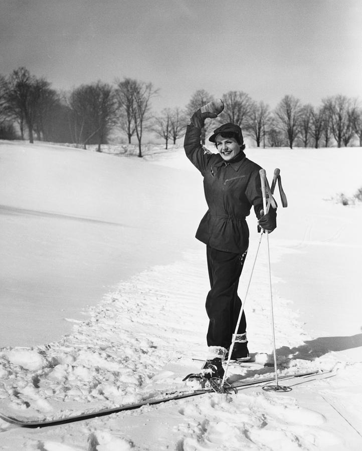 Adult Photograph - Wan Cross-country Skiing, Waving, (b&w) by George Marks