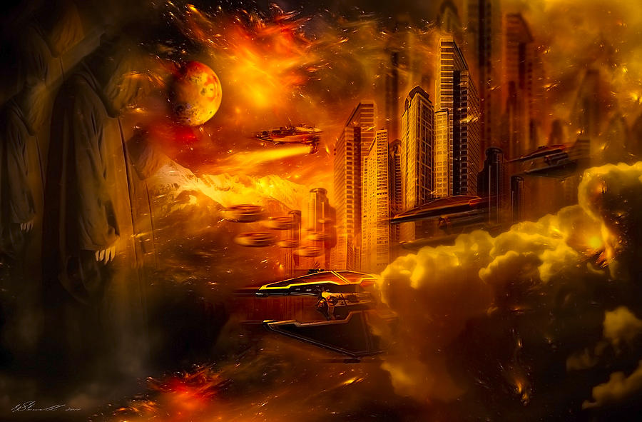 Background Digital Art - War And Death by Svetlana Sewell