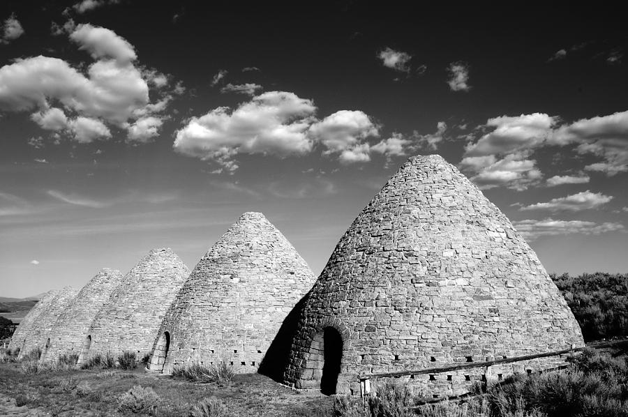 Monochrome Photograph - Ward Charcoal Ovens by Scott McGuire