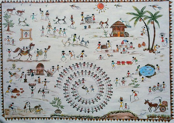 Warli painting village life painting by kalasiddhii art warli painting painting warli painting village life by kalasiddhii art altavistaventures Image collections