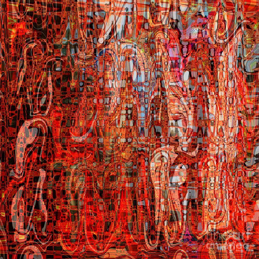 Red Digital Art - Warm Meets Cool - Abstract Art by Carol Groenen