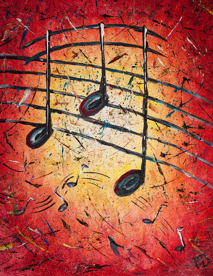 Music Painting - Warm Notes by Paul Bartoszek