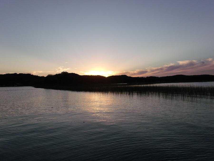 Illuminated Photograph - Warm Sunshine Lake by Brian  Maloney