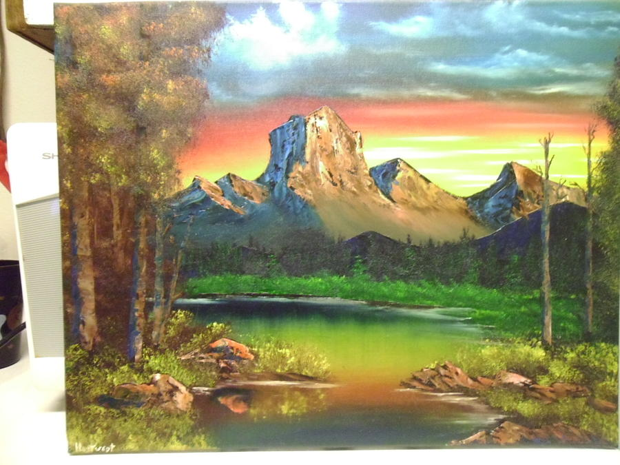 Mountains Painting - Warm Western Sunset by Thomas Hostvedt