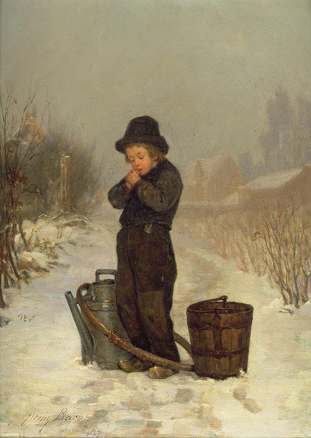 Snowing Painting - Warming His Hands by Henry Bacon