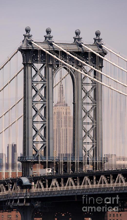 Washington Bridge Photograph - Washington Bridge And Empire State Building by Holger Ostwald