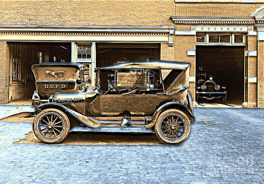Washington d c fire department 1916 color photograph by for Washington dc department of motor vehicles