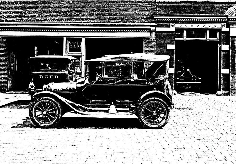 Washington d c fire department 1916 litho photograph by for Washington dc department of motor vehicles