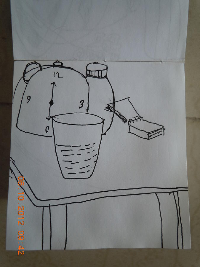 Watch On Table Drawing by Heena Chauhan