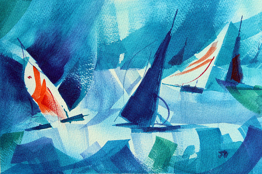Sailboats Painting - Watch Those Whitecaps. by Josh Chilton