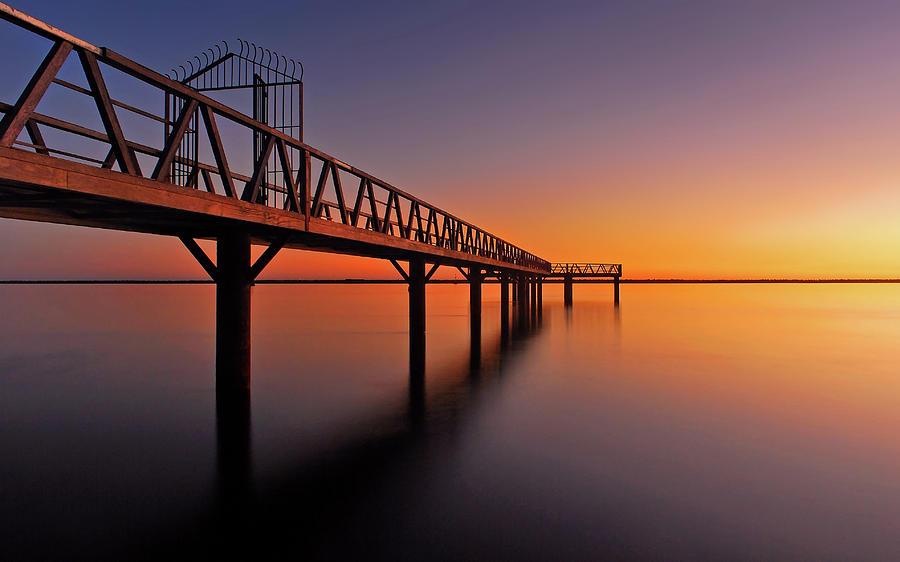 Horizontal Photograph - Watchers Wharf, Mazagon, Huelva At Night by Juampiter