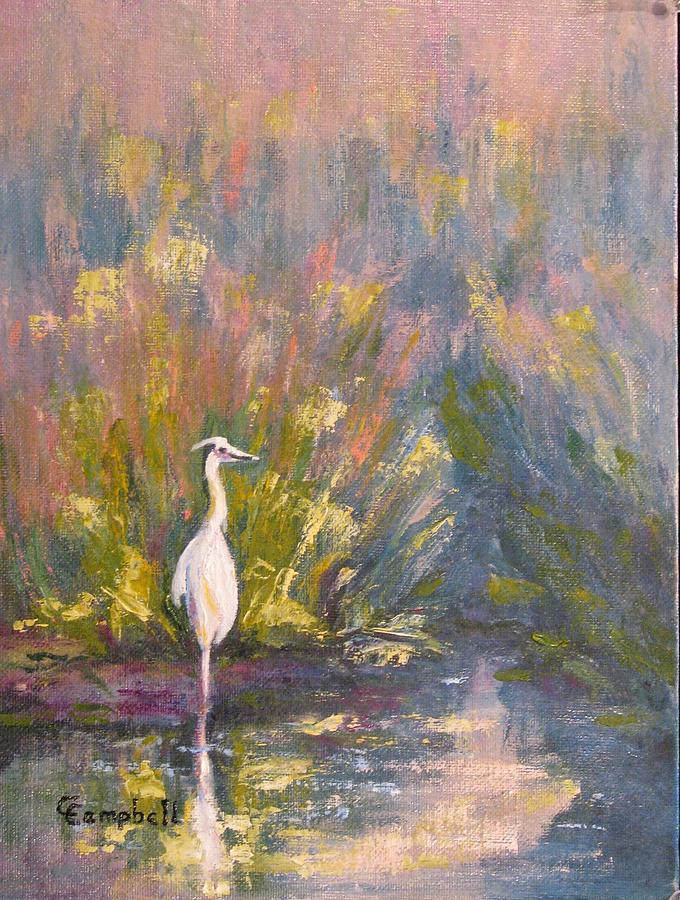 Marsh Painting - Watching and Waiting by Cecelia Campbell