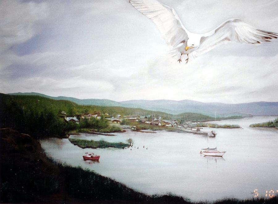 Lake Superior Painting - Watching Over  Rossport by Joyce Reid