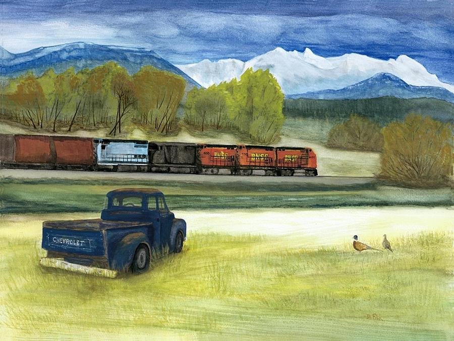 Trains Painting - Watching The Eastbound by Dennis Fisk