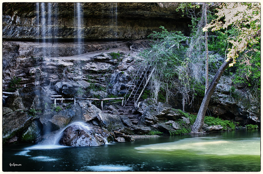 Water Photograph - Water And Lights At Hamilton Pool by Lisa  Spencer