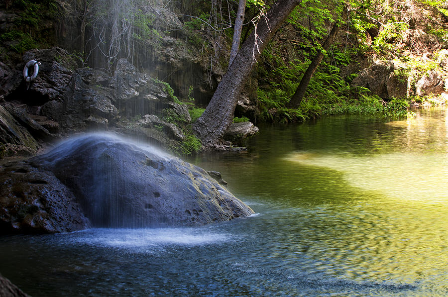 Waterfall Photograph - Water Falling On Rock by Lisa  Spencer