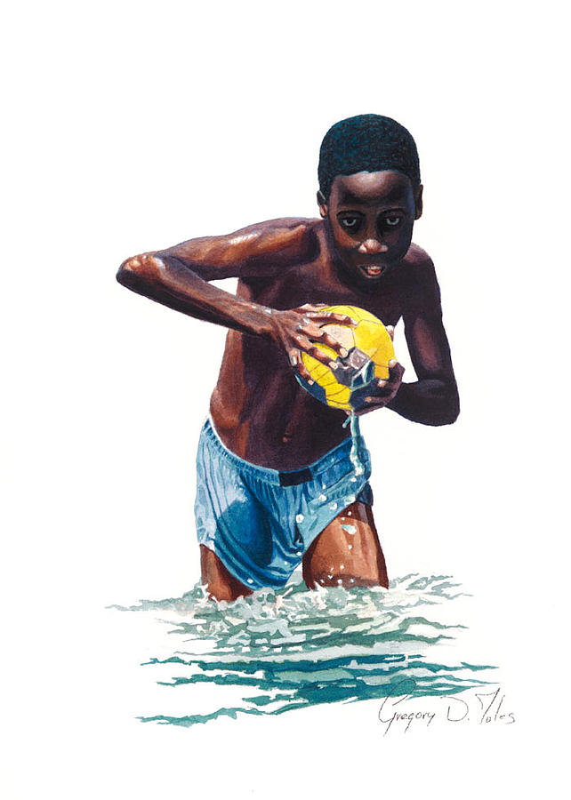 Boy Painting - Water Game by Gregory Jules