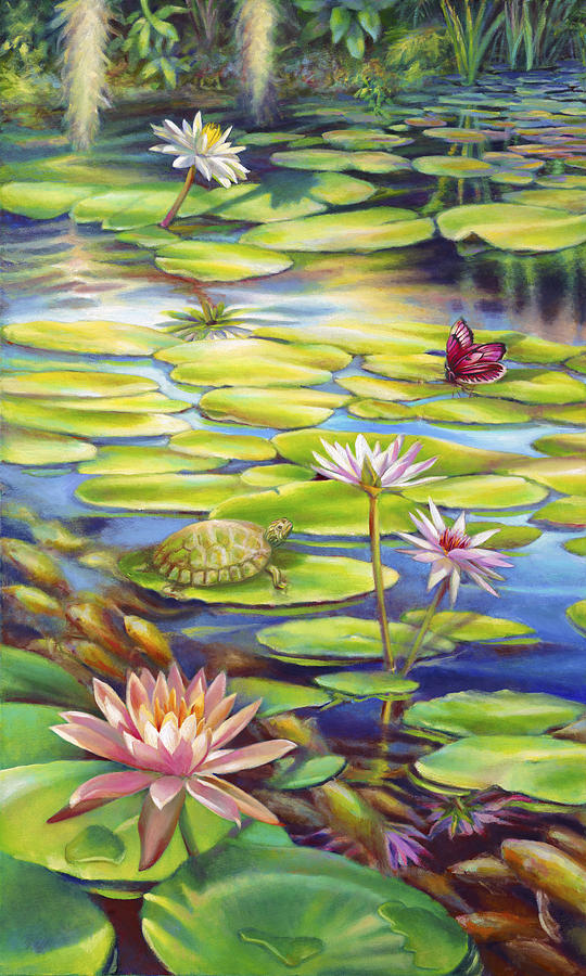 Water Lily Painting - Water Lilies at McKee Gardens I - Turtle Butterfly and Koi Fish by Nancy Tilles