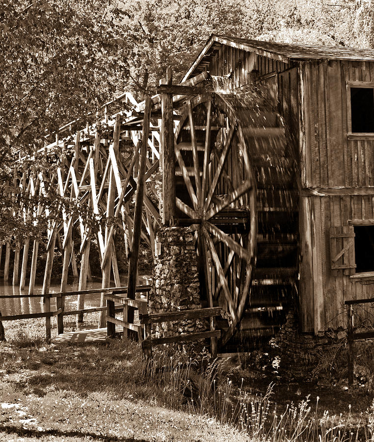Water Photograph - Water Mill In Action by Douglas Barnett