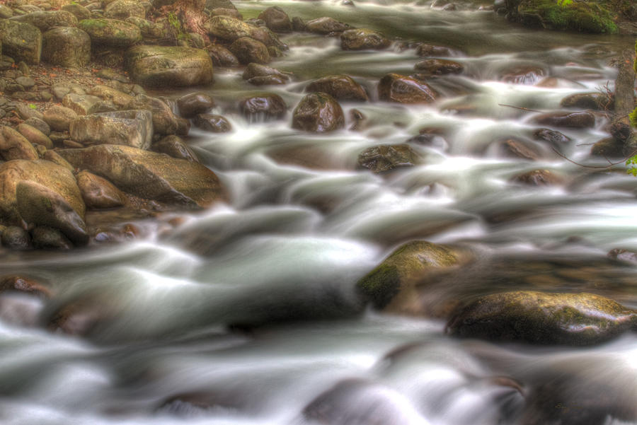 Rocks Photograph - Water On The Rocks by Barry Jones