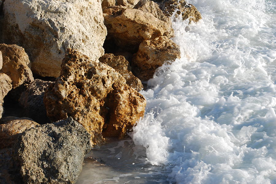 Beach Photograph - Water On The Rocks by Carrie Munoz