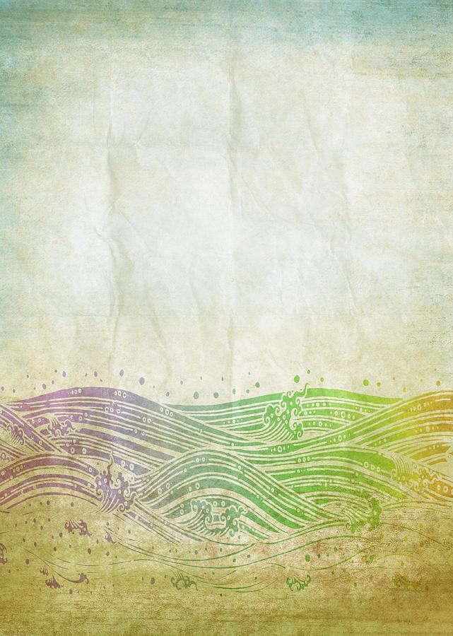 Abstract Digital Art - Water Pattern On Old Paper by Setsiri Silapasuwanchai