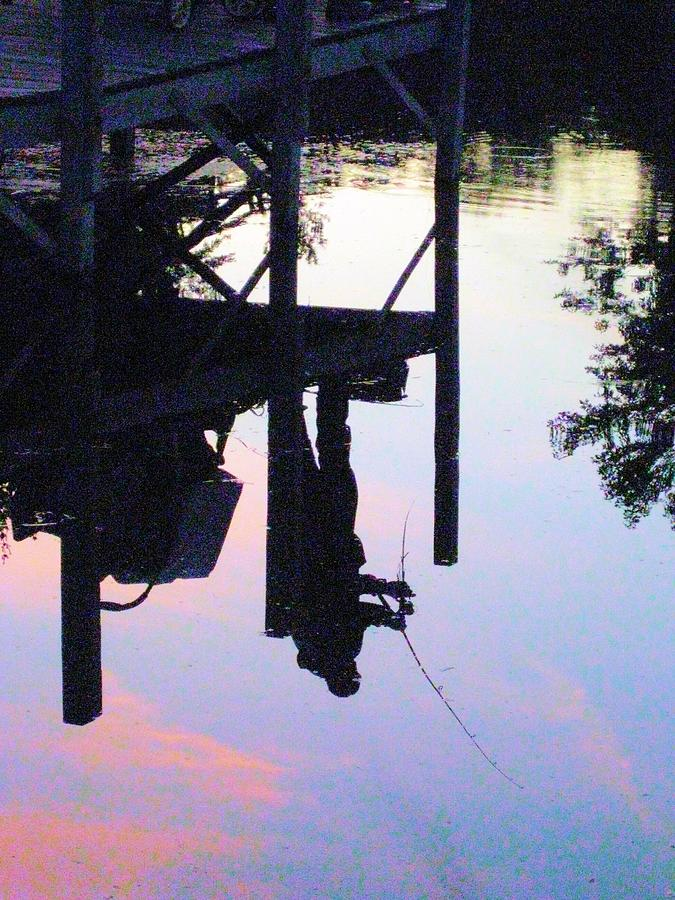 Water Photograph - Water Reflection Of A Fisherman by Judy Via-Wolff