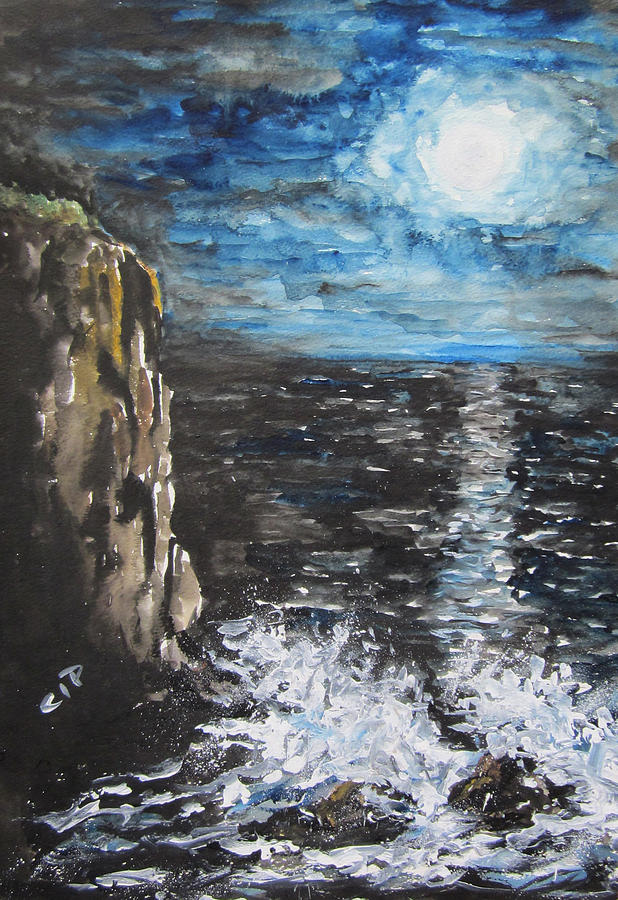 Moon Painting - Water Under The Moonligt by Cheryl Pettigrew