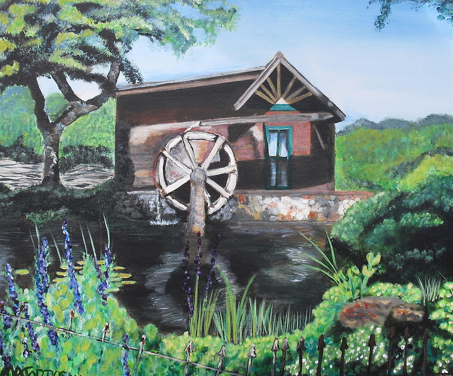 Floral Landscape Painting - Water Wheel by Melissa Torres