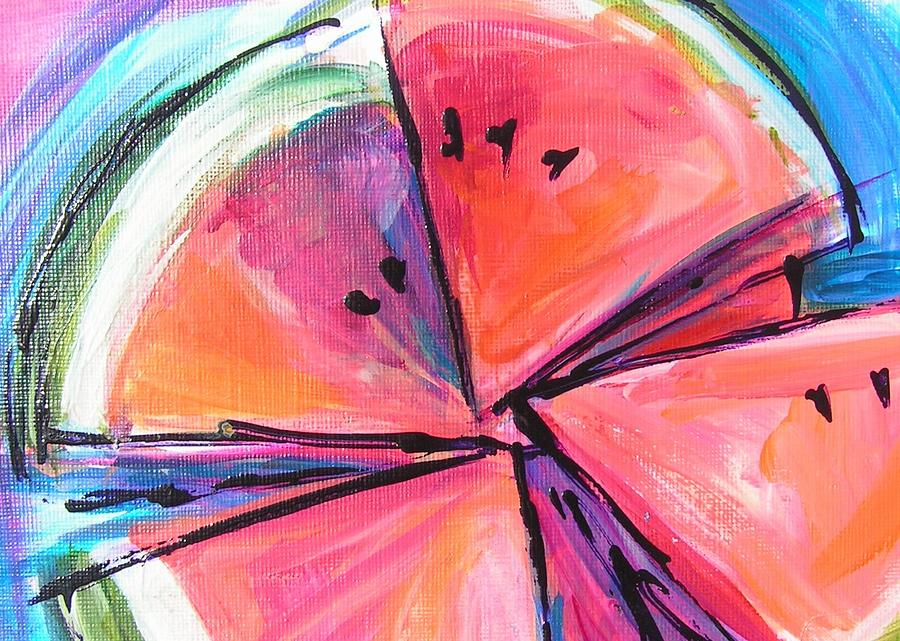 Watermelon Painting - Water Whirled by Judy  Rogan