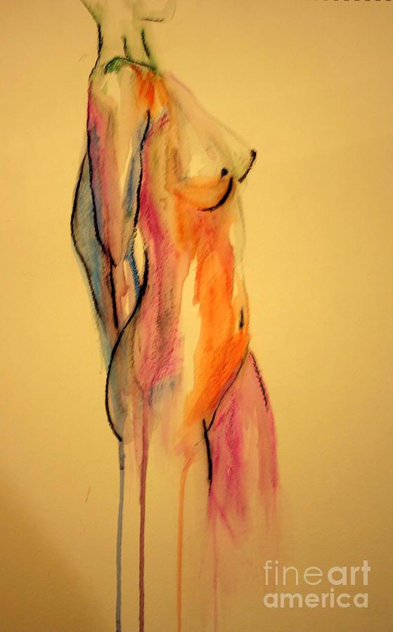 Nude Painting - Watercolor Nude by Julie Lueders