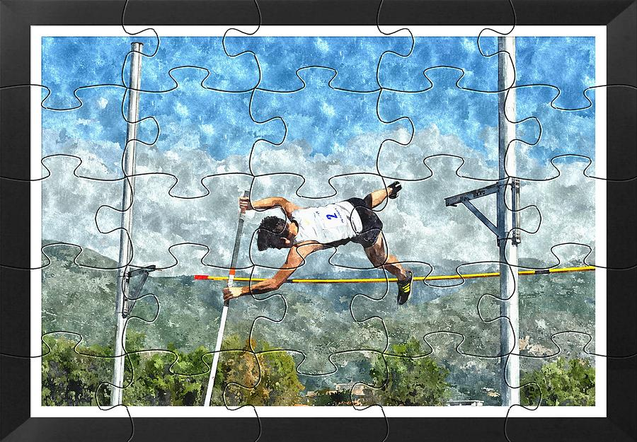 Puzzle Painting - Watercolor Puzzle Design Of Pole Vault Jump by John Vito Figorito