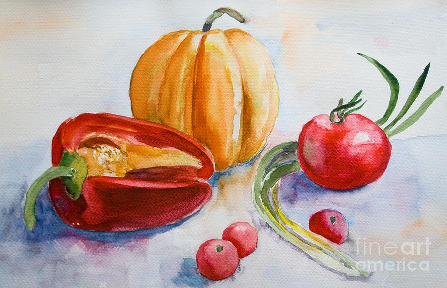 Watercolor Vegetables Painting By Regina Jershova