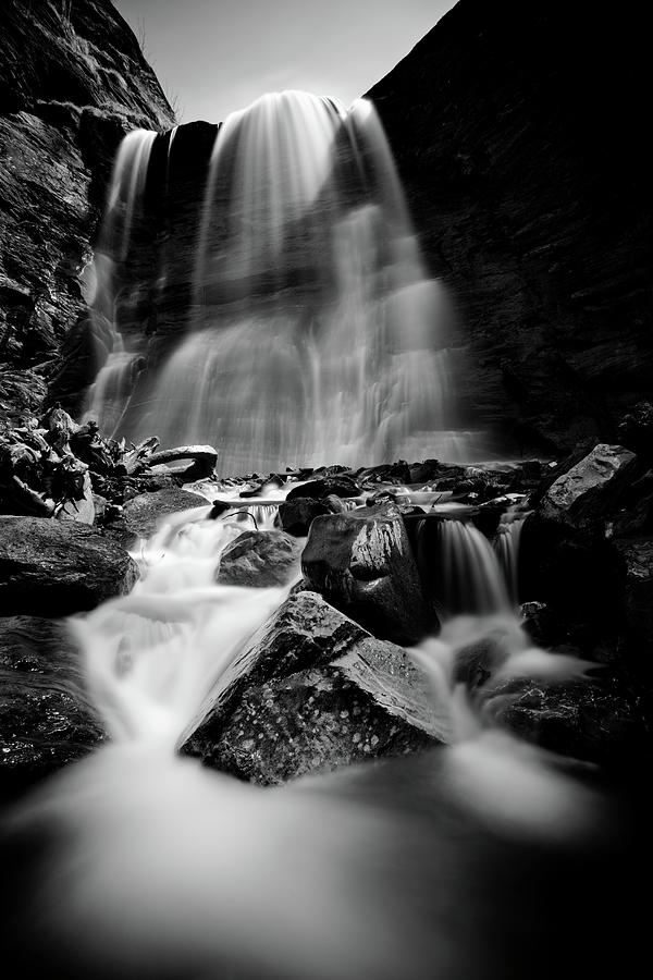 Vertical Photograph - Waterfall Down The Mountains by © Francois Marclay