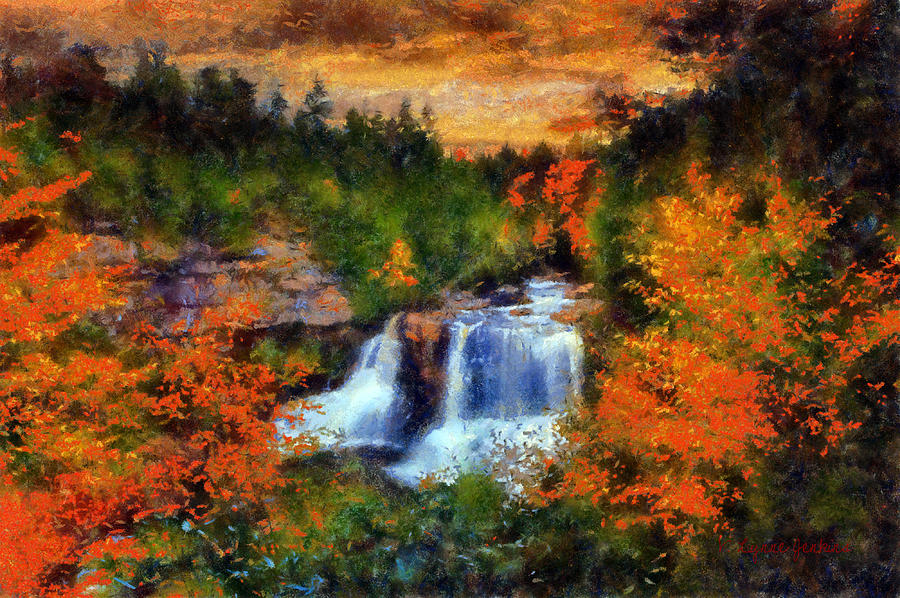 Waterfall In Autumn Painting By Lynne Jenkins