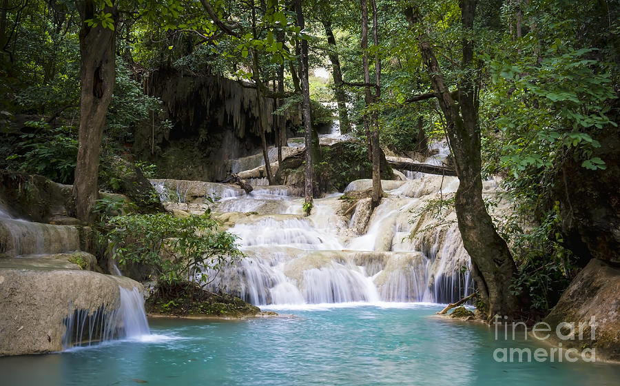 Thailand Photograph - Waterfall In Deep Forest by Setsiri Silapasuwanchai